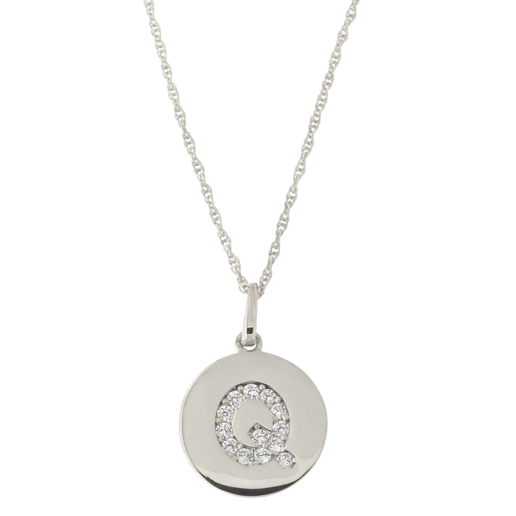 14k White Gold Cubic Zirconia Initial Disc Pendant Necklace, Q, 13 inches