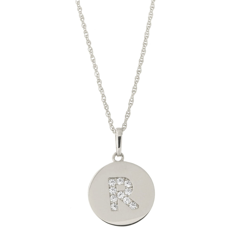 14k White Gold Cubic Zirconia Initial Disc Pendant Necklace, R, 16 inches