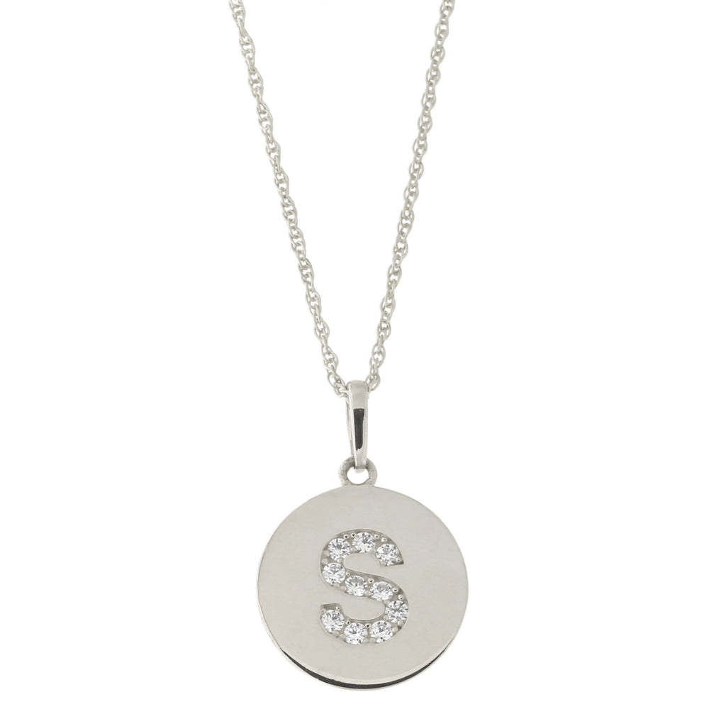 14k White Gold Cubic Zirconia Initial Disc Pendant Necklace, S, 15 inches