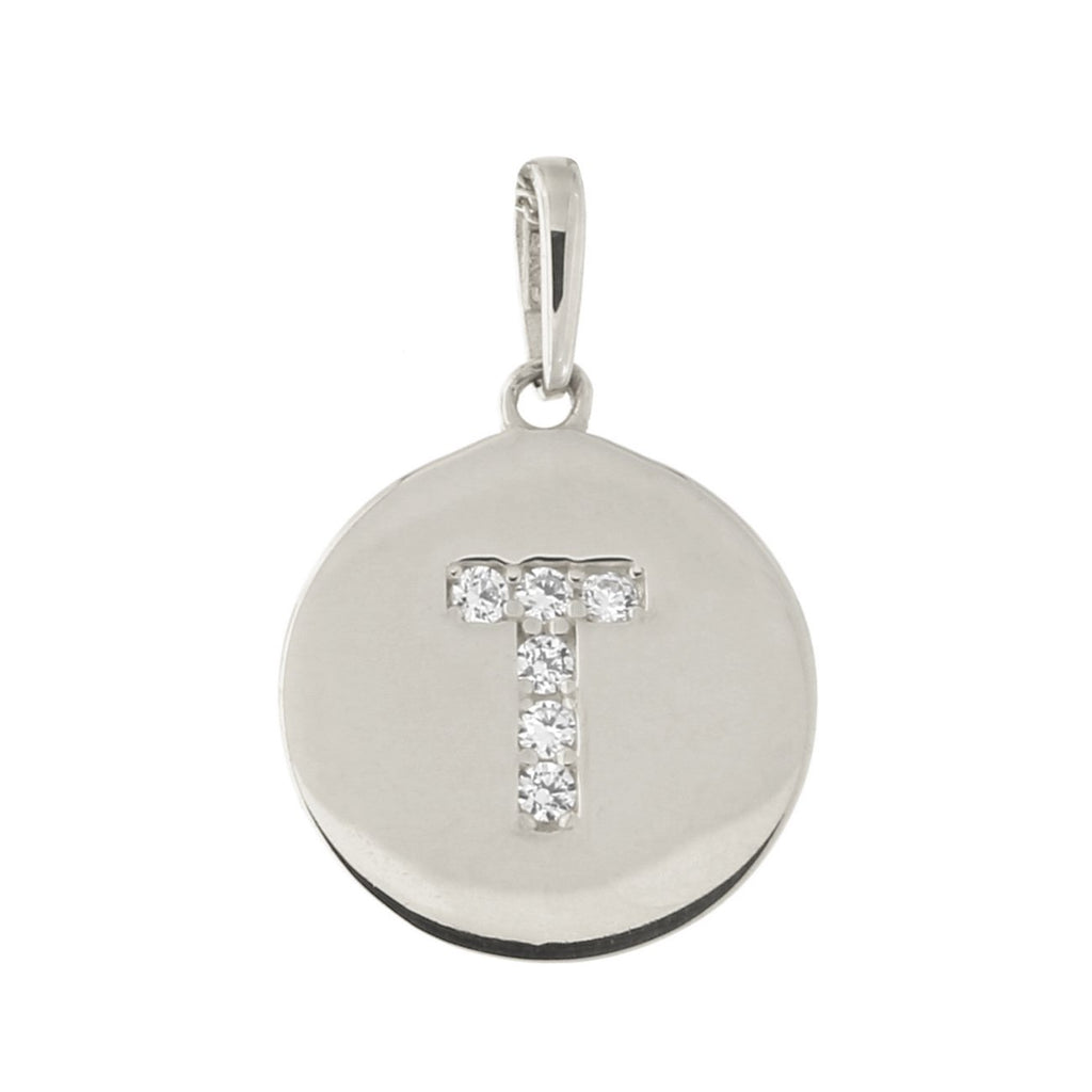 14k White Gold Cubic Zirconia Initial Disc Pendant, T