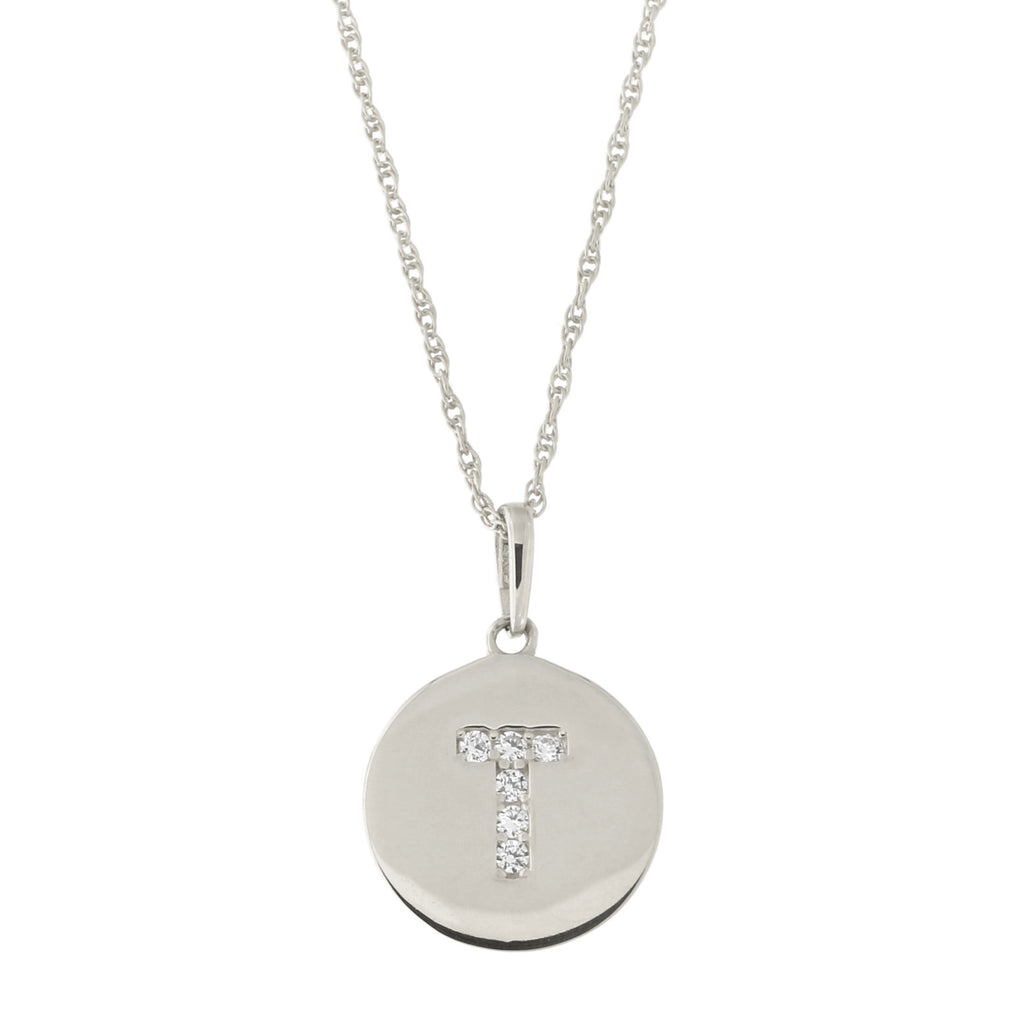 14k White Gold Cubic Zirconia Initial Disc Pendant Necklace, T, 15 inches