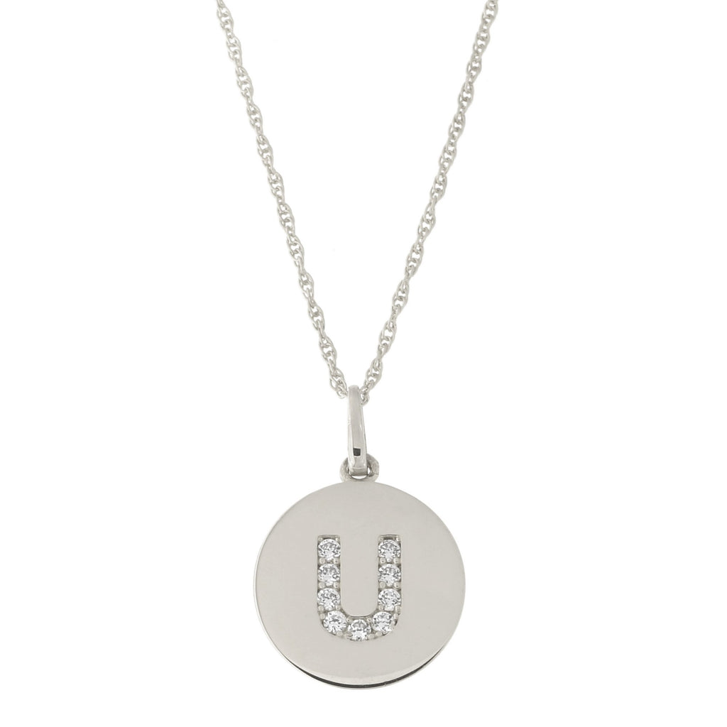 14k White Gold Cubic Zirconia Initial Disc Pendant Necklace, U, 16 inches