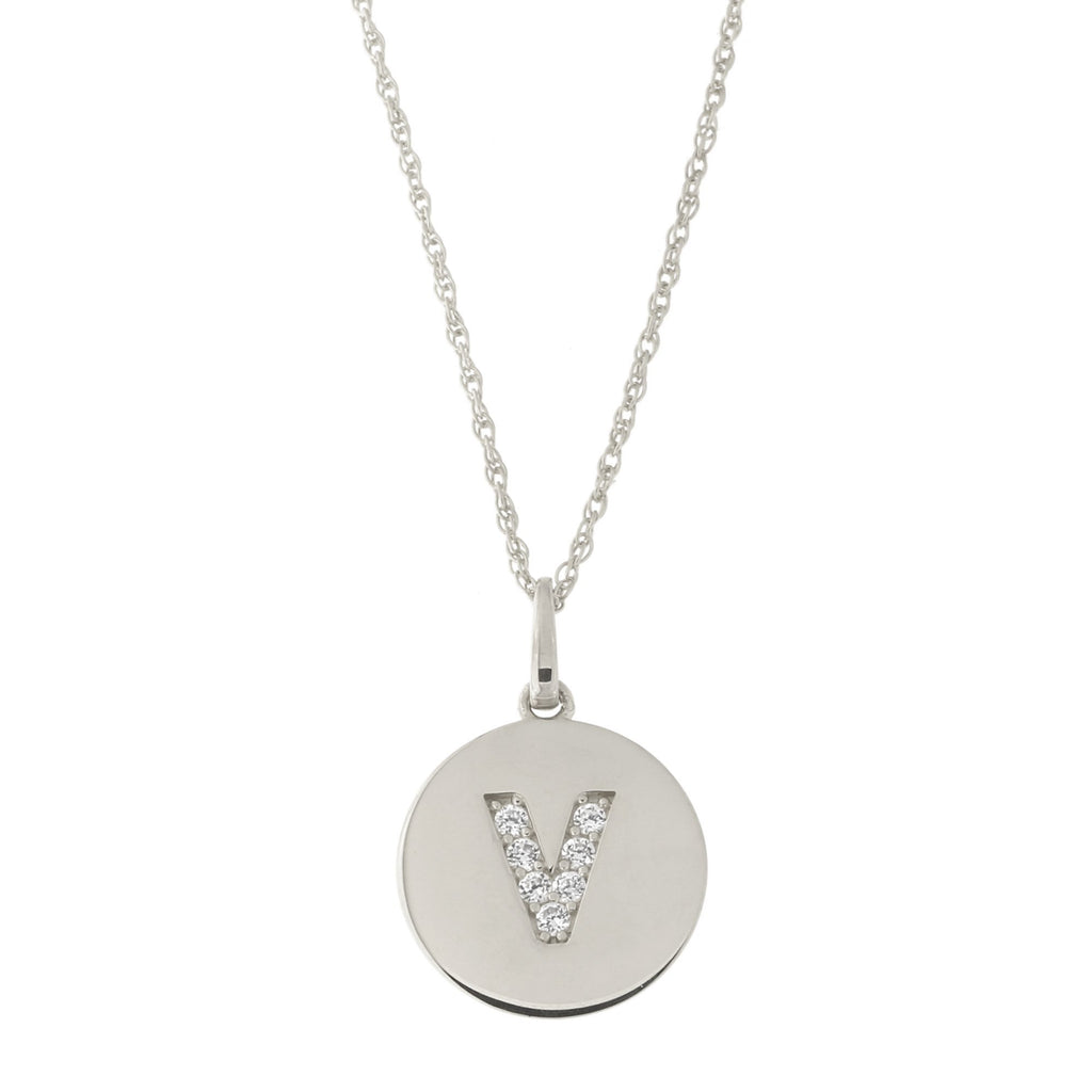 14k White Gold Cubic Zirconia Initial Disc Pendant Necklace, V, 15 inches