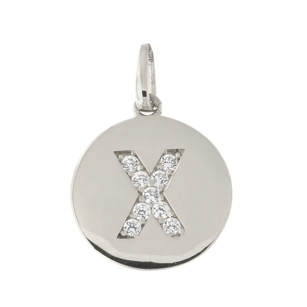 14k White Gold Cubic Zirconia Initial Disc Pendant, X