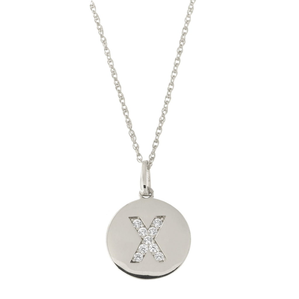 14k White Gold Cubic Zirconia Initial Disc Pendant Necklace, X, 13 inches