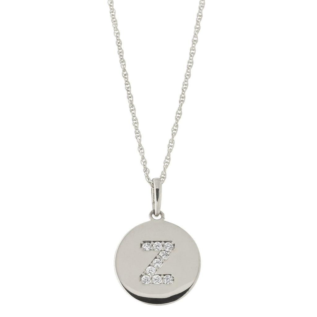 14k White Gold Cubic Zirconia Initial Disc Pendant Necklace, Z, 18 inches