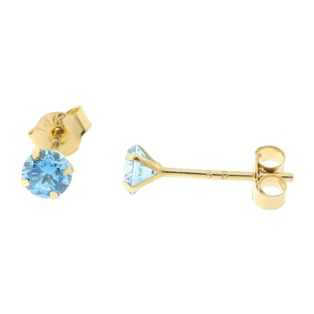 14k Yellow or White Gold Round Simulated Blue Topaz Earrings