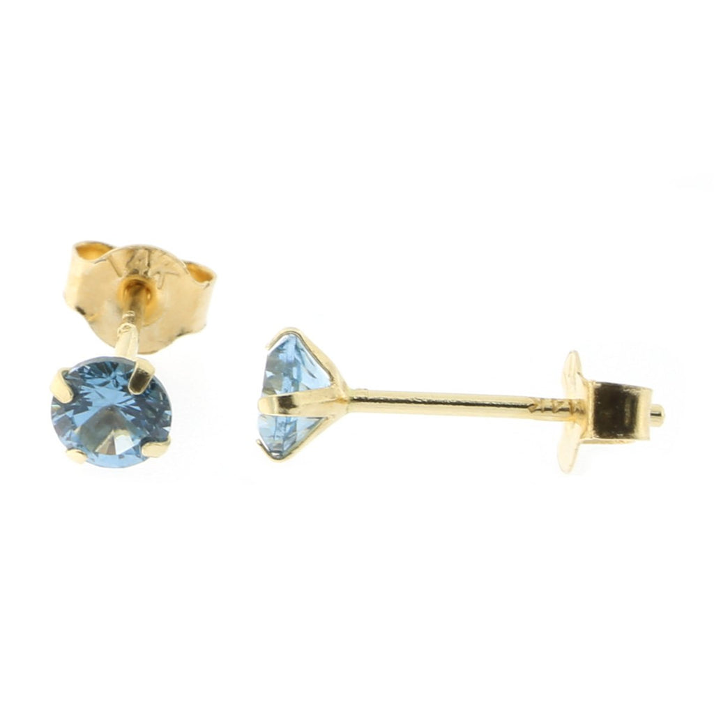 14k Yellow or White Gold Round Simulated Aquamarine Earrings