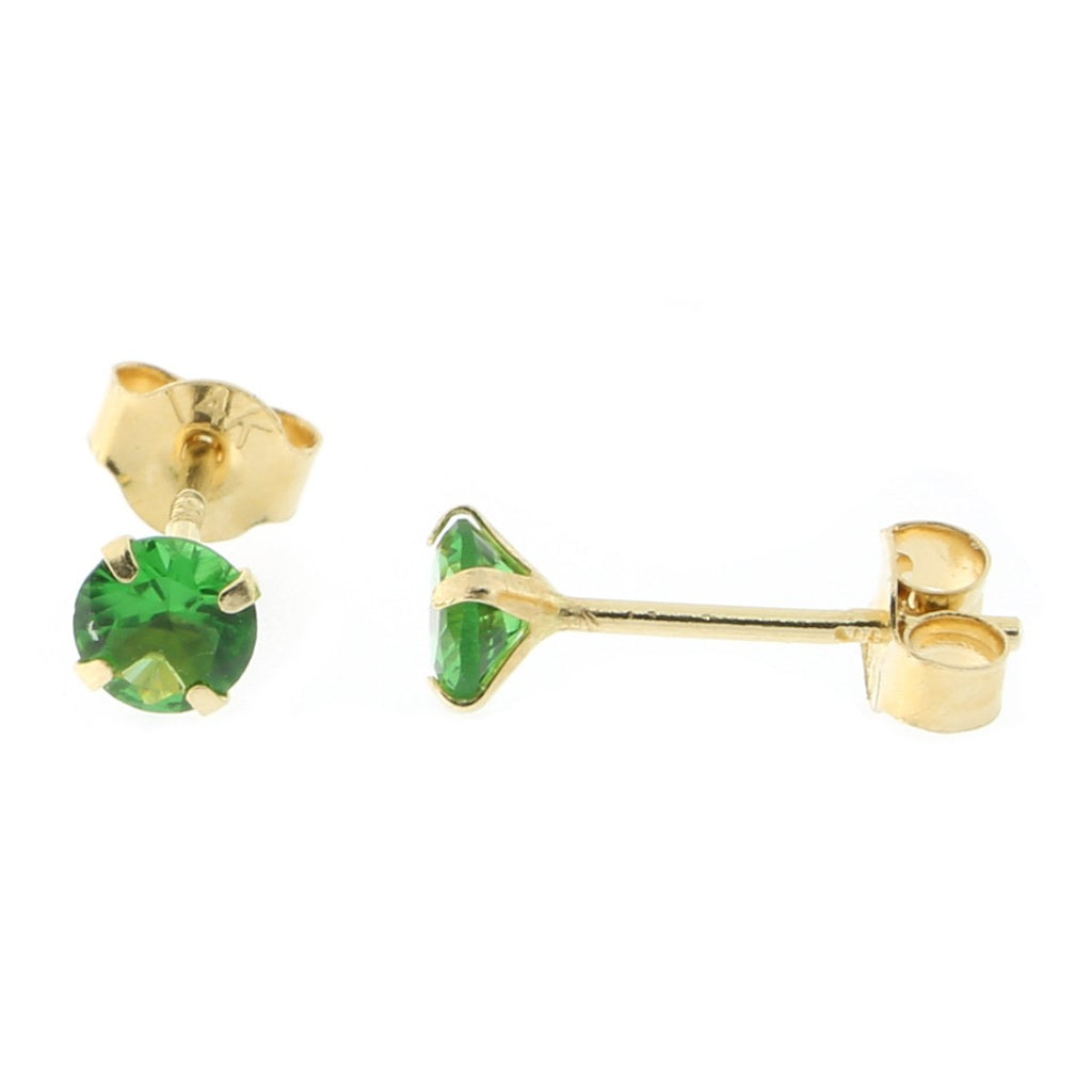 14k Yellow or White Gold Round Simulated Emerald Earrings
