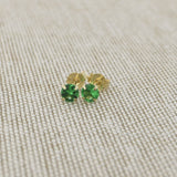 14k Yellow Gold 3mm .25tcw Round Simulated Emerald Earrings