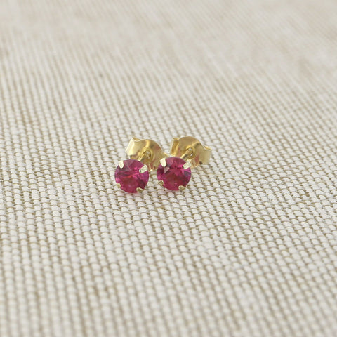 14k Yellow Gold 3mm .25tcw Round Simulated Ruby Earrings