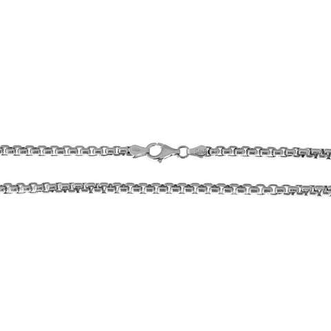 Solid Sterling Silver Rhodium Plated 1.8mm Round Box Chain Necklace, 18""