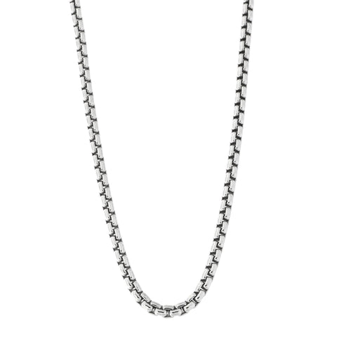 Unisex Solid Sterling Silver Rhodium Plated 2.5 mm thick Round Box Chain Necklace, 18""