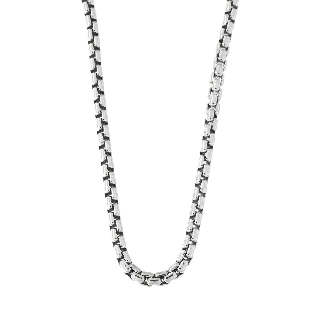 Mens Solid Sterling Silver Rhodium Plated 3mm Round Box Chain Necklace, 18""