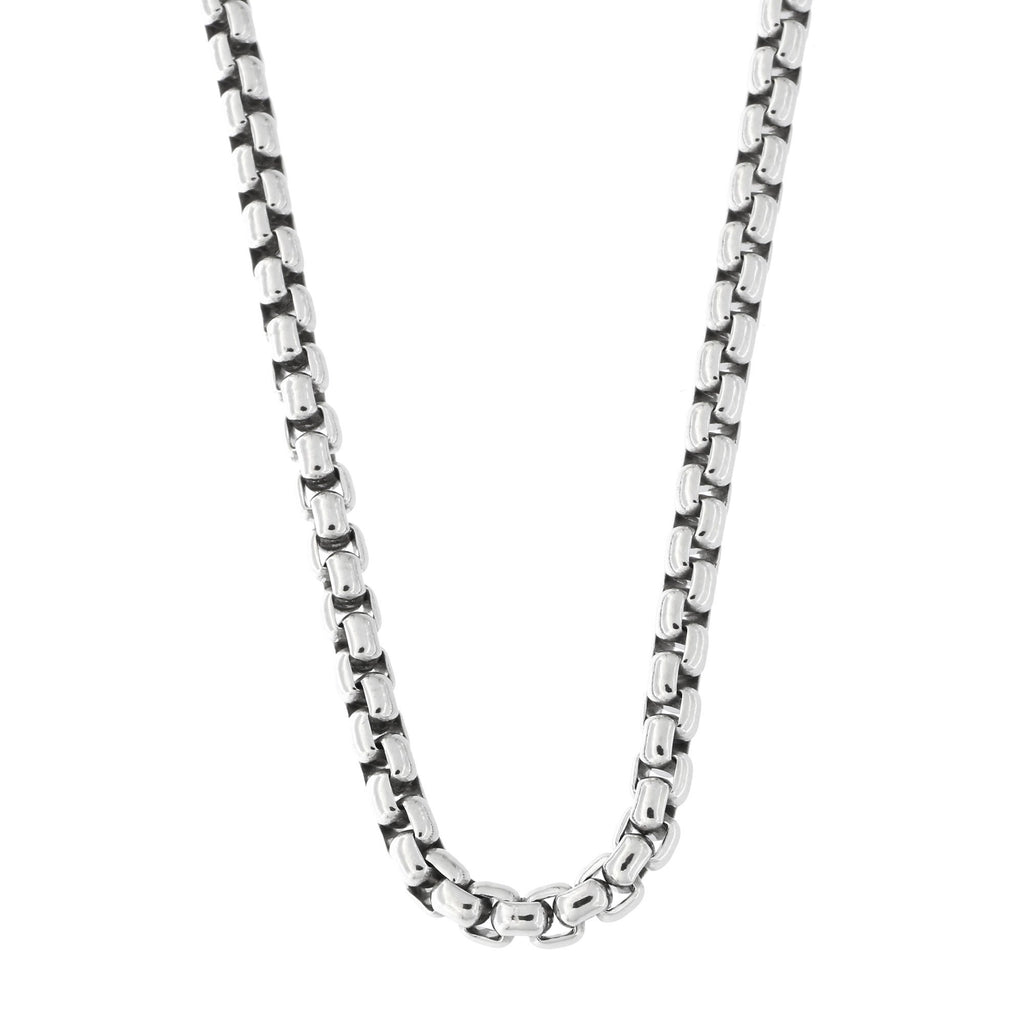 Mens Solid Sterling Silver Rhodium Plated 3.75mm Round Box Chain Necklace, 20""