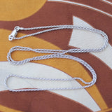 Solid Sterling Silver Rhodium Plated 1.4mm Rope Chain Necklace, 18""