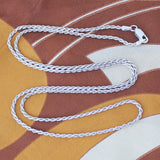 Solid Sterling Silver Rhodium Plated 1.9mm Rope Chain Necklace, 18""