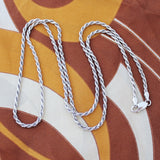 Solid Sterling Silver Rhodium Plated 2.3mm Rope Chain Necklace, 18""