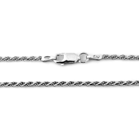 Solid Sterling Silver Rhodium Plated 3mm Rope Chain Necklace, 18""