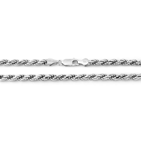 Solid Sterling Silver Rhodium Plated 4mm Rope Chain Necklace, 20""
