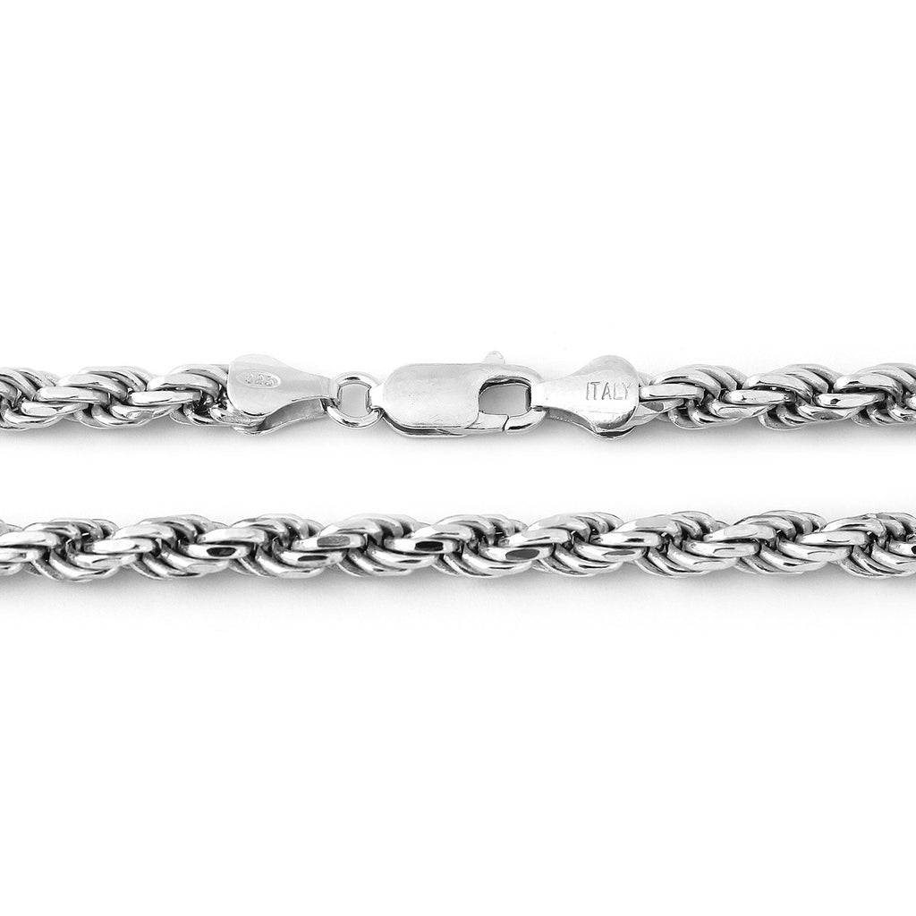 Men's Solid Sterling Silver Rhodium Plated 6mm Rope Chain Necklace, 24""