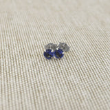 14k Yellow Gold 3mm .25tcw Round Simulated Blue Sapphire Earrings
