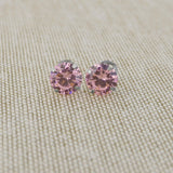 14k Yellow Gold 3mm .25tcw Round Simulated Pink Tourmaline Earrings