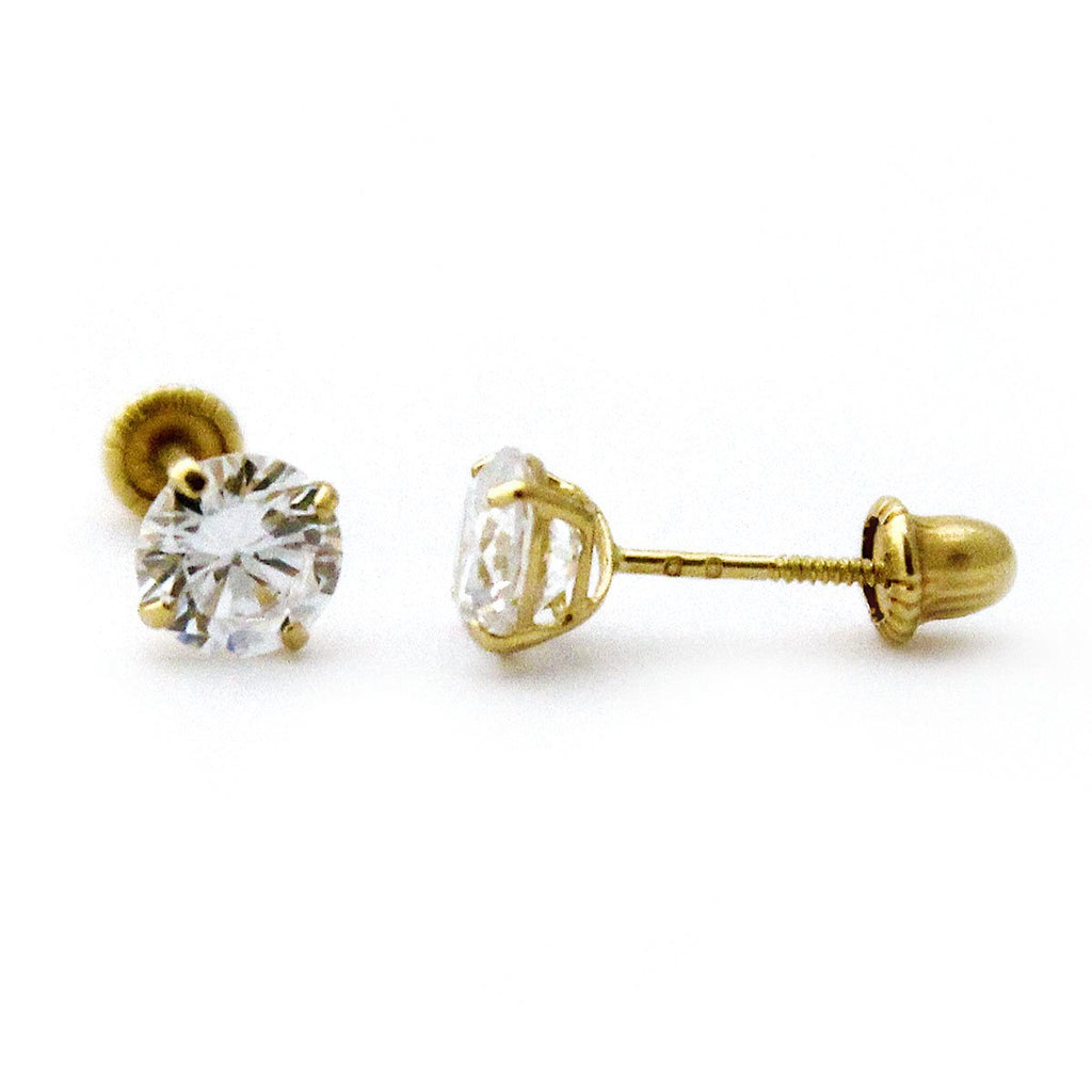 14k Yellow or White Gold Cubic Zirconia Stud Earrings with Child Safe Screwbacks