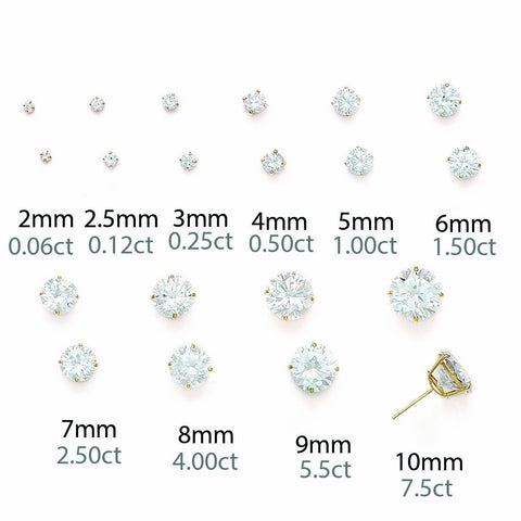 14k Yellow Gold Cubic Zirconia Stud Earrings with Child Safe Screwbacks - 2mm