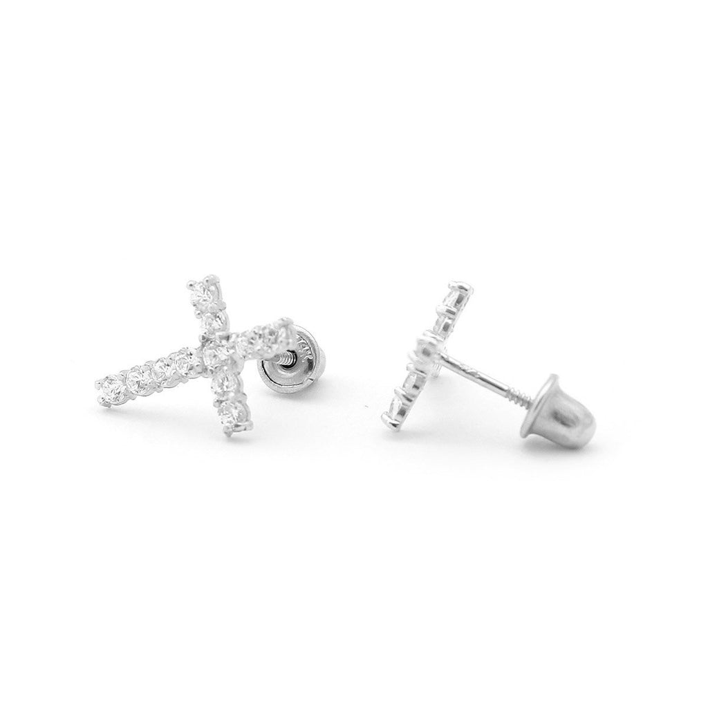 14k Yellow or White Gold Large Cubic Zirconia Cross Stud Earrings with Child Safe Screwbacks