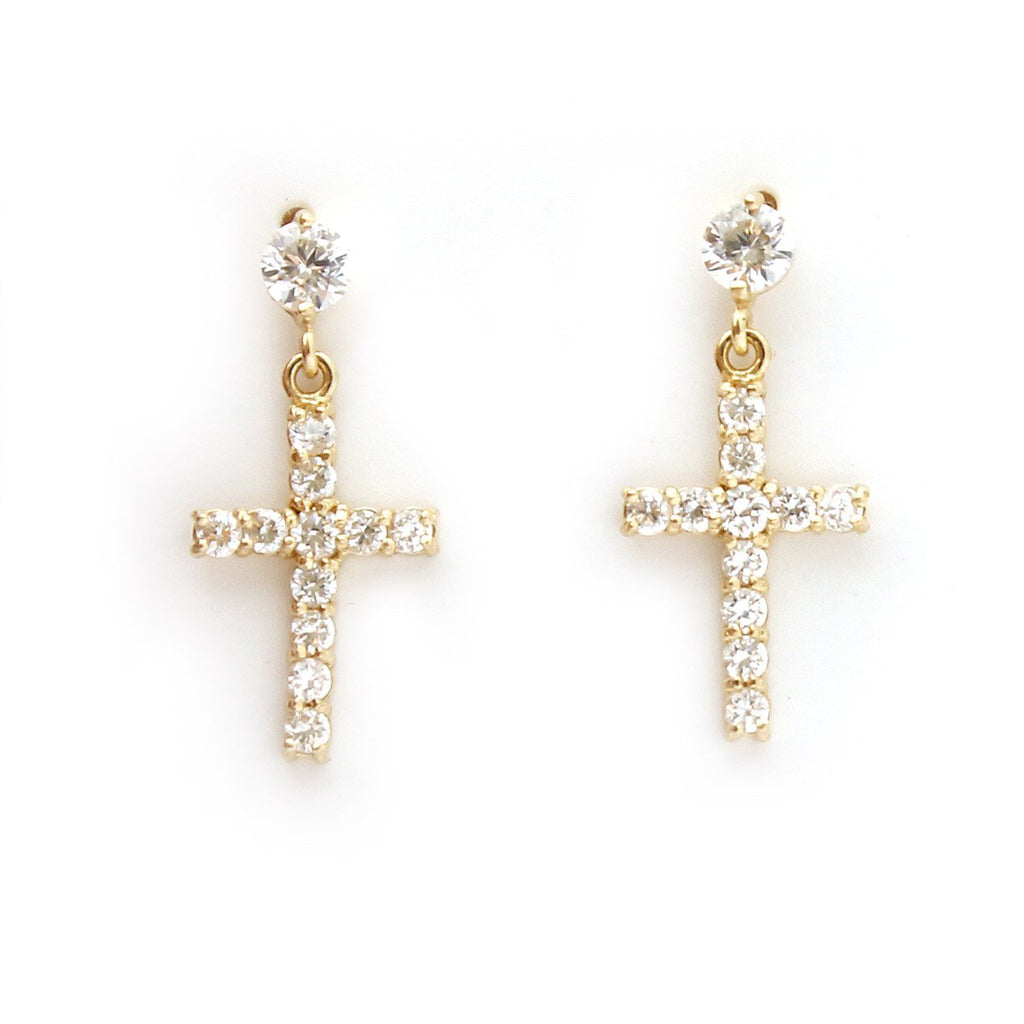 14k Yellow Gold Cubic Zirconia Cross Dangle Earrings with Child Safe Screwbacks