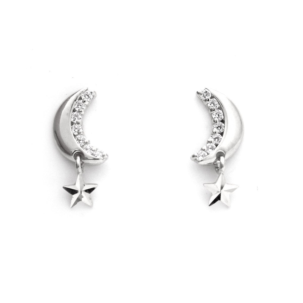 14k Yellow or White Gold Cubic Zirconia Crescent Moon and Star Dangle Earrings with Child Safe Screwbacks
