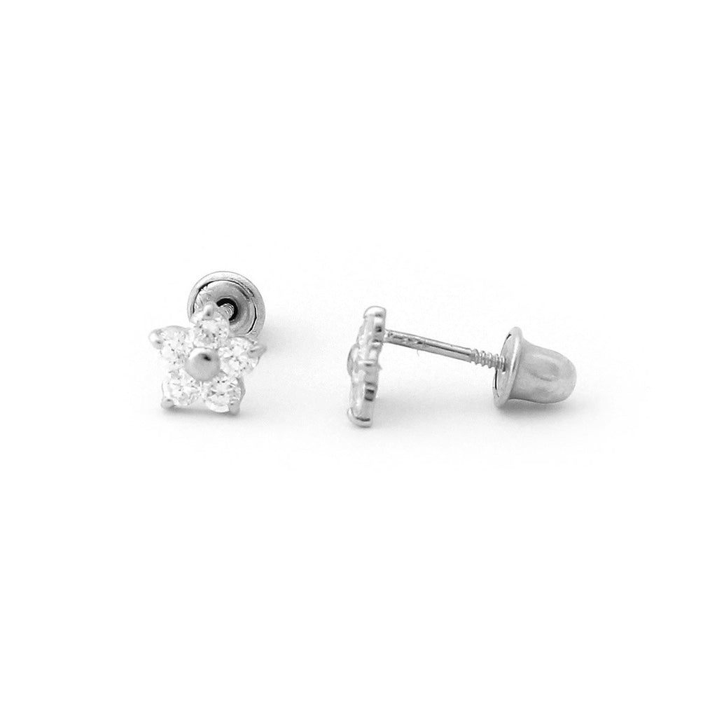 14k Yellow or White Gold Cubic Zirconia Small Flower Stud Earrings with Child Safe Screwbacks