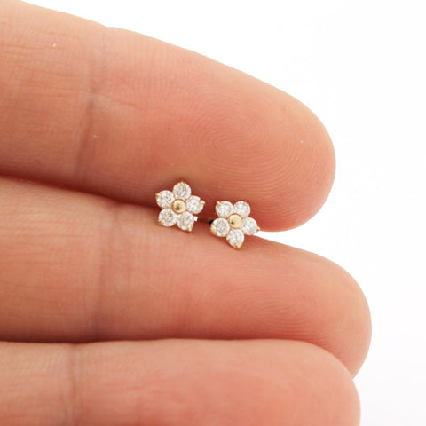 14k White Gold Cubic Zirconia Small Flower Stud Earrings with Child Safe Screwbacks
