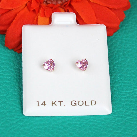 14k Yellow Gold Simulated Pink Tourmaline Heart Stud Earrings with Child Safe Screwbacks - 4mm