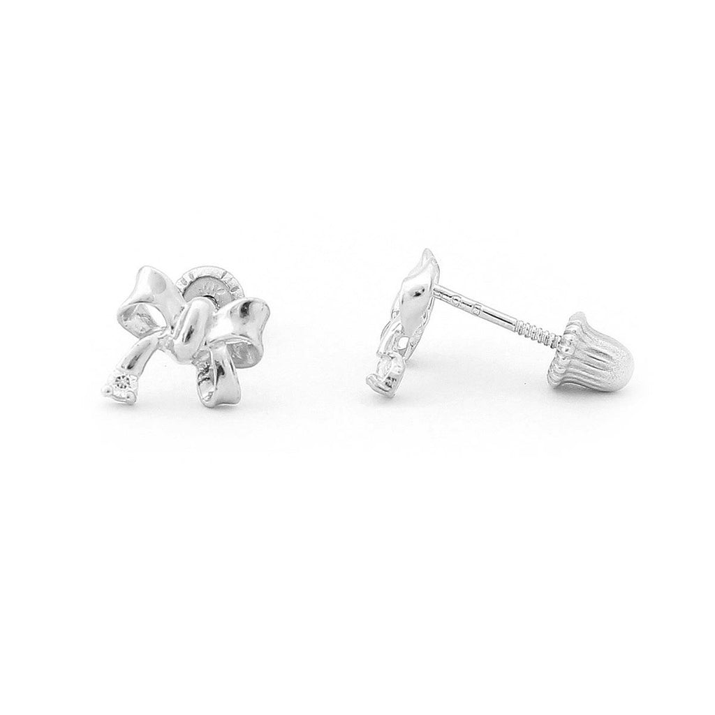 14k Yellow or White Gold Bow Stud Cubic Zirconia Accent Stud Earrings with Child Safe Screwbacks