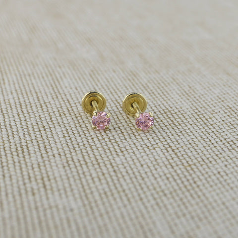 14k Yellow Gold 2.5mm .12tcw Round Simulated Pink Tourmaline Screwback Earrings
