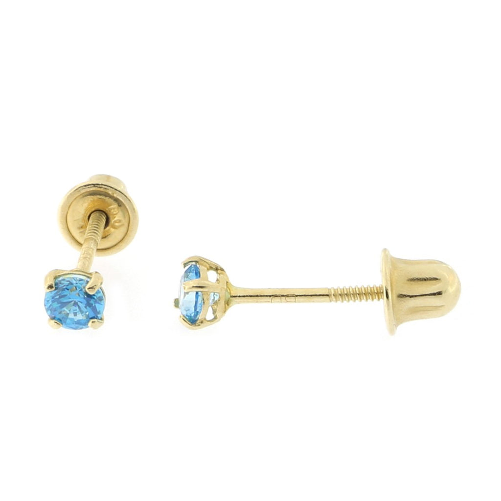 14k Yellow or White Gold Round Simulated Blue Topaz Screwback Earrings