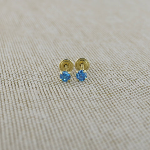 14k Yellow Gold 2.5mm .12tcw Round Simulated Blue Topaz Screwback Earrings