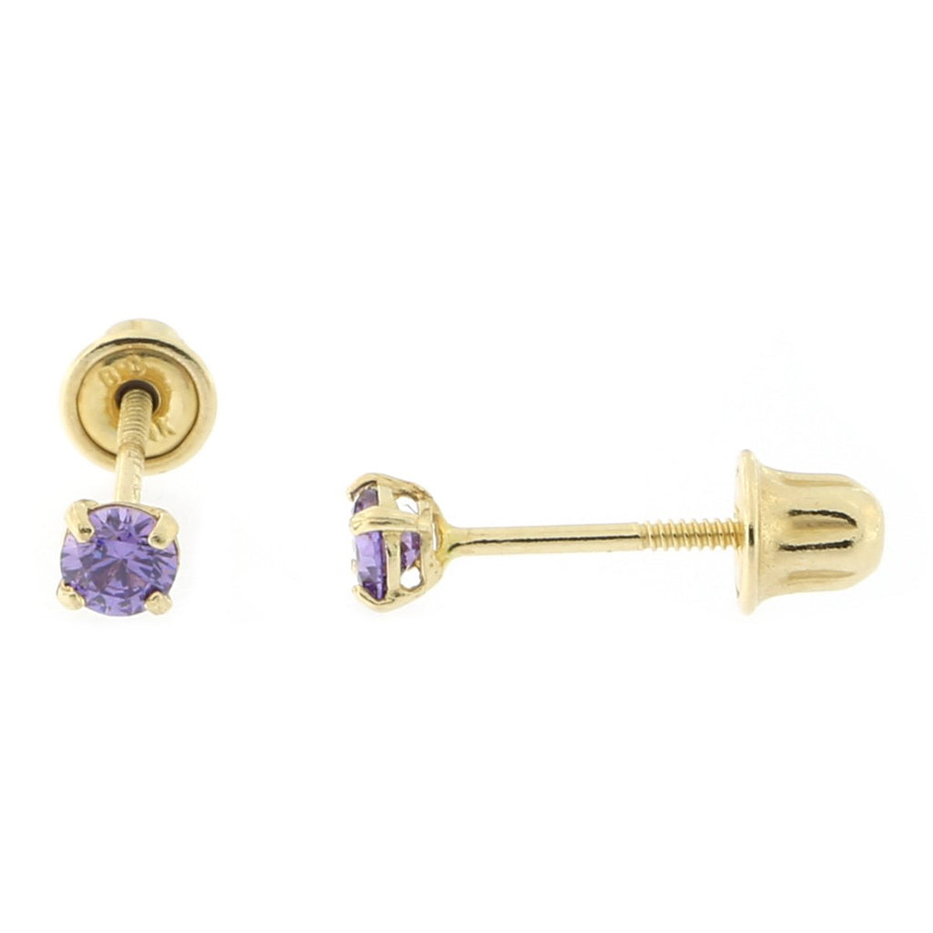 14k Yellow or White Gold Round Simulated Amethyst Screwback Earrings