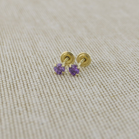 14k Yellow Gold 2.5mm .12tcw Round Simulated Amethyst Screwback Earrings