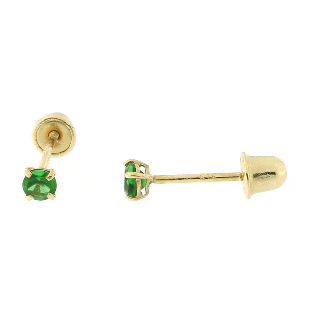14k Yellow or White Gold Round Simulated Emerald Screwback Earrings