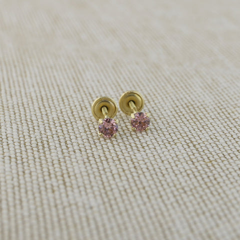 14k Yellow Gold 2.5mm .12tcw Round Simulated Alexandrite Screwback Earrings