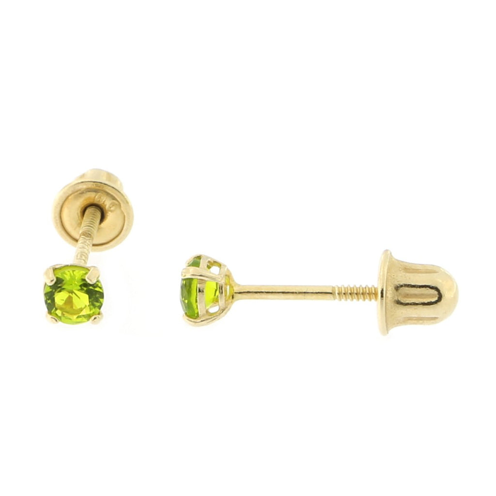 14k Yellow or White Gold Round Simulated Peridot Screwback Earrings