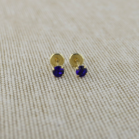 14k Yellow Gold 2.5mm .12tcw Round Simulated Blue Sapphire Screwback Earrings