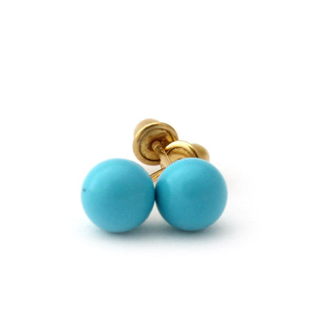 14k Yellow Gold Simulated Light Blue Turquoise Ball Stud Earrings with Child Safe Screwbacks - 4mm
