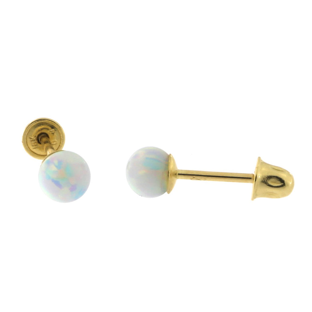 14k Yellow Gold 4mm Simulated Opal Ball with Baby Safe Screwback Earrings