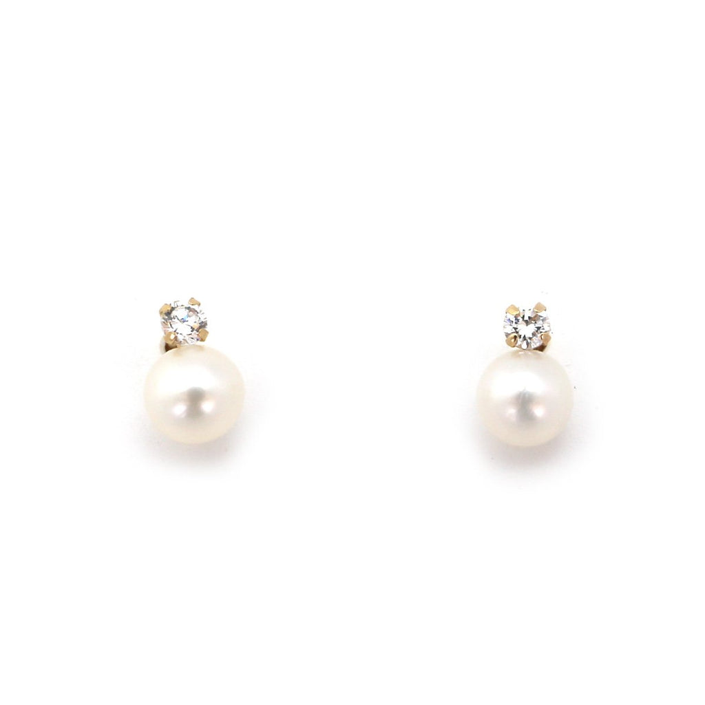 14k Yellow or White Gold White Freshwater Cultured Pearl CZ Stud Earrings with Child Safe Screwbacks