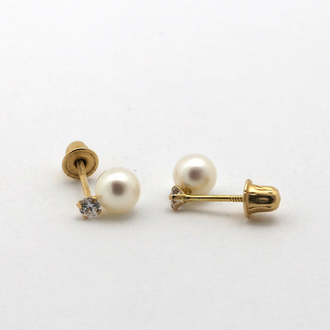 14k Yellow Gold 4mm White Freshwater Cultured Pearl and CZ Stud Earrings with Child Safe Screwbacks
