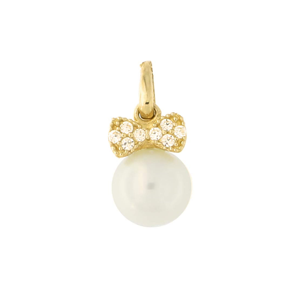 14k Yellow Gold Tiny Cubic Zirconia Bow 6mm Freshwater Cultured Pearl Pendant Necklace